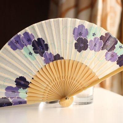 扇 棉麻 白底 藍櫻花