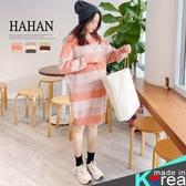 【HC5299】撞色條紋 羅紋領針織洋裝