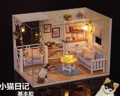智趣屋diy小屋小貓日記建築模型手工拼裝房子玩具創意