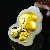 金鑲玉項鍊 和闐玉吊墜-福袋造型生日情人節禮物男女飾品73gf9【時尚巴黎】