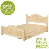 床架【YUDA】芬蘭 5尺 雙人床 床架/床檯/床底 含抽屜 S8Y 54-4