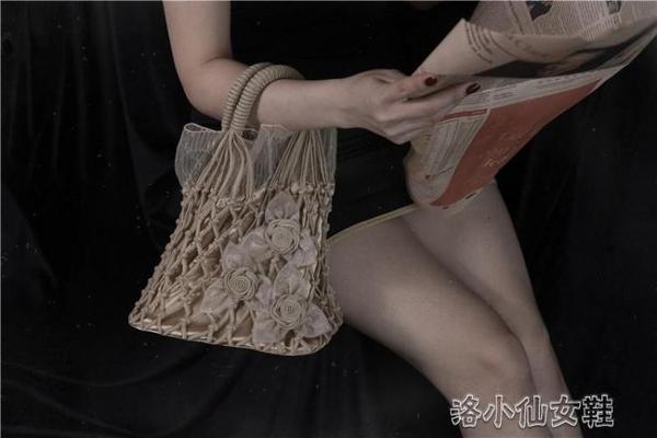 ins新款毛線編織包 手工網兜復古手提草編包仙女百搭女包 洛小仙女鞋