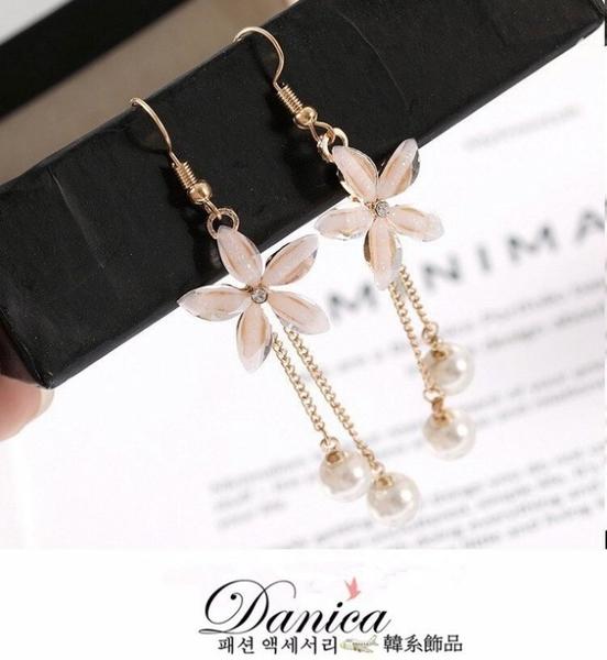 現貨 韓國氣質甜美百搭花朵珍珠流蘇耳環 夾式耳環 S92968 批發價 Danica 韓系飾品