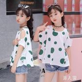 女童短袖夏裝2019新款t恤大童韓版洋氣露肩上衣時尚寬鬆寶寶衣服潮 FR9528『男人範』