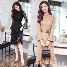 蕾絲洋裝 中長新款韓版小香風收腰蕾絲打底長袖連身裙女OB3821『毛菇小象』