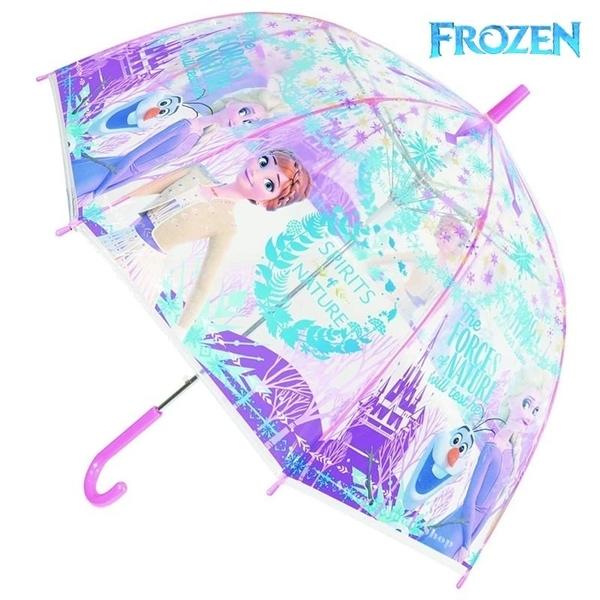 【SAS】迪士尼 冰雪奇緣 艾莎 安娜 雪寶 城堡雪花版 兒童 透明 直立傘/雨傘