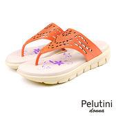 【Pelutini】donna鏤空雕花涼拖鞋 橘色(6939W-OR)