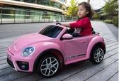 嬰兒童電動汽車四輪遙控玩具寶寶小孩甲殼蟲電瓶童車可坐人帶遙控  DF 玫瑰女孩