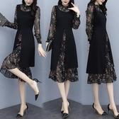 降價兩天 洋裝連身裙 兩件套 胖mm春裝大尺碼女裝 碎花雪紡拼接假兩件套