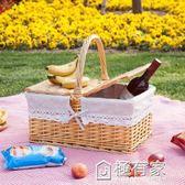 藤編柳編野餐籃 收納籃 購物籃 戶外手提籃 帶蓋藤編籃子 禮品籃  ATF