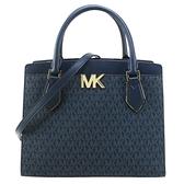【南紡購物中心】MICHAEL KORS MOTT滿版拼接三層手提斜背兩用包-大/深藍