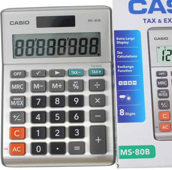 CASIO計算機 MS-80B 8位數桌上小型計算機(大字幕)8位數/一台入{定450}~快速輸入反應及有稅率鍵