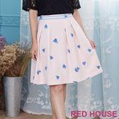 Red House 蕾赫斯-粉嫩花朵打褶裙(共2色)