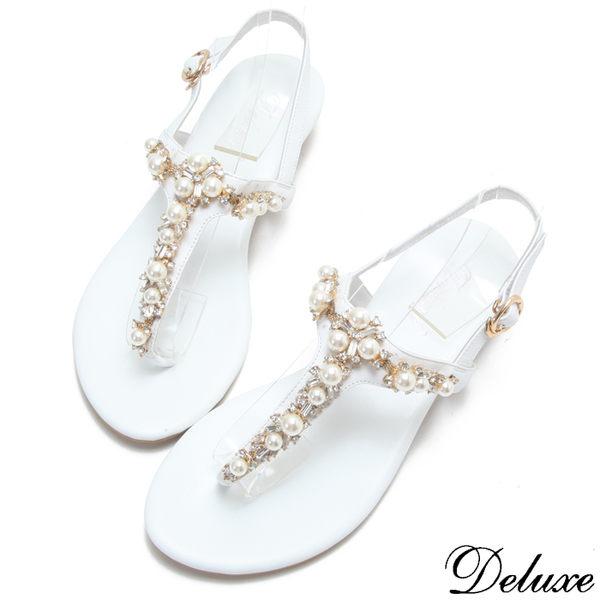 【Deluxe】全真皮氣質浪漫珍珠夾腳涼鞋(白)