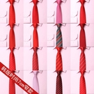 領帶男窄韓版7cm新郎伴郎紅色結婚領帶酒紅色送方巾領結 降價兩天