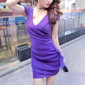 夜店洋裝 夜店低胸性感透視網紗連身裙2021夏新款夜場修身顯瘦收腰包臀女裝 薇薇