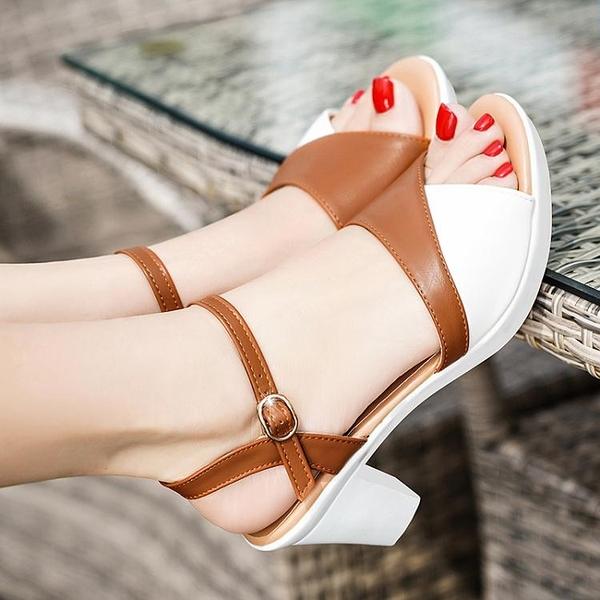 高跟鞋-涼鞋女粗跟2021夏季新款百搭防水台高跟鞋一字扣帶中跟魚嘴鞋夏天