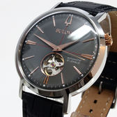 [萬年鐘錶]  BULOVA寶路華  經典 自動機械錶  灰錶面 銀殼 黑皮帶 男錶 98A187