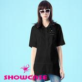 【SHOWCASE】珍珠胸飾寬版顯瘦長襯衫(黑)
