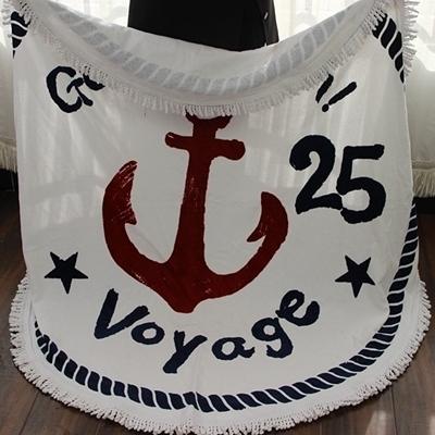 防曬披肩-流蘇簡約經典海錨多用途戶外沙灘巾73mu37【時尚巴黎】