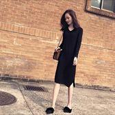年終大清倉黑色v領長袖打底針織連衣裙女過膝學生中長款修身