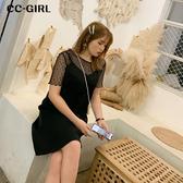 中大尺碼 (短版)黑色V領可調式細肩帶洋裝 - 適XL~4L《 68431HH 》CC-GIRL
