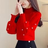 洋氣打底衫女裝秋冬2019新款潮時尚很仙的蕾絲上衣服百搭衣間Mandyc