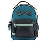 【COACH】簽名LOGO拚皮革單肩/胸口包(黑/藍色) F76728 SVP4T