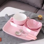 全館83折 陶瓷分格餐盤兒童餐具早餐盤套裝家用三格分隔盤西餐盤子成人飯盤
