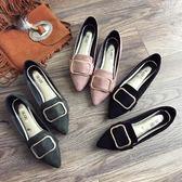 豆豆鞋 尖頭單鞋平底淺口方扣百搭一腳蹬女鞋