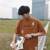 蝙蝠衫5分袖t恤男短袖七分韓版潮學生chic寬鬆夏季刺繡圓領7分袖蝙蝠衫 海角七號