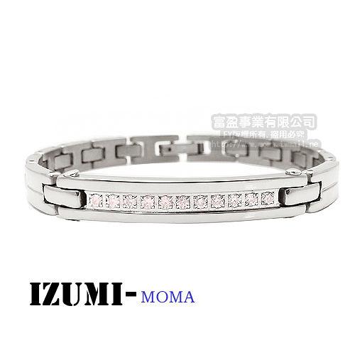 MOMA-【IZUMI】系列純鈦鍺磁手鍊-IS008PL(粉)窄版