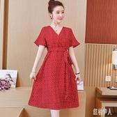 大碼洋裝 夏季新款女裝胖妹妹中長款V領裙子顯瘦時尚潮流短袖連身裙 yu12881『紅袖伊人』