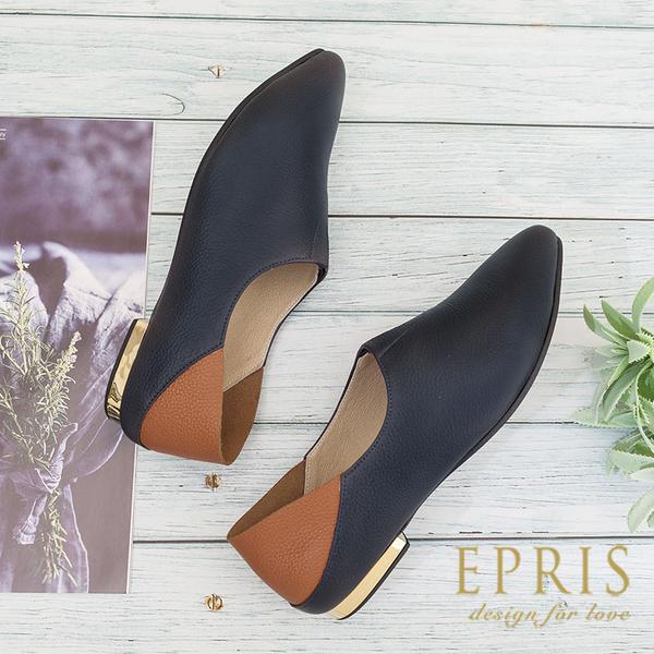 現貨 休閒女鞋推薦 一鞋兩穿精靈鞋 阿爾達精靈 踩腳鞋 真皮腳墊跟鞋MIT 21-26 EPRIS艾佩絲-深海藍
