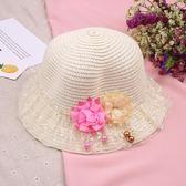 韓版兒童草帽女童公主遮陽帽親子涼帽