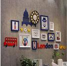 英倫風格實木照片牆歐式鐘錶相框牆臥室客廳...
