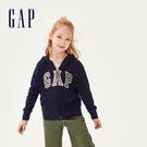 Gap女童 Logo棉質亮片刷毛內裡連帽外套 539429-海軍藍色