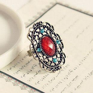 時尚複古鏤空紅寶石戒指
