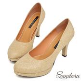 訂製鞋 訂製MIT金蔥閃料微尖頭防水台高跟鞋-金色下單區
