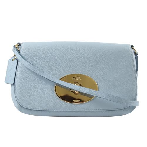 茱麗葉精品 全新名牌COACH 52896 馬車金屬LOGO質感荔枝皮革小巧斜背包.淡藍