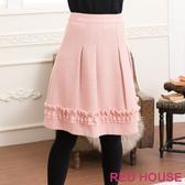 【RED HOUSE-蕾赫斯】異材質拼接打褶及膝裙(粉色)