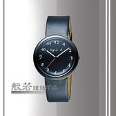 agnes b. 經典手寫時標時尚腕錶-黑皮黑面