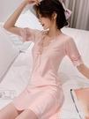 冰絲睡衣 睡衣女夏季薄款短袖蕾絲韓版性感絲綢寬鬆大碼冰絲睡裙新款家居服 生活主義
