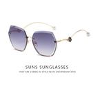 歐美精品太陽眼鏡 漸層灰 無邊框太陽眼鏡 淑女墨鏡 珍珠飾品墨鏡 抗UV400