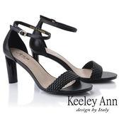 ★2019秋冬★Keeley Ann簡約一字帶 編織半圓造型高跟涼鞋(黑色) -Ann系列