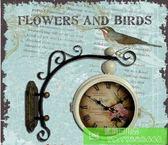 特價 歐式復古鐵藝太陽牌靜音雙面掛鐘 美式鄉村時尚客廳時鐘表