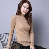 針織衫-長袖純色螺紋修身高領女毛衣5色73oq3【巴黎精品】