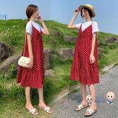 洋裝  孕婦夏裝洋裝2019新款上衣時尚套裝夏天裙子潮媽兩件套女孕媽裝 2色