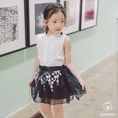女童短袖套裝 蕾絲上衣+網紗裙子套裝 寶寶童裝 小禮服 MS60003 好娃娃