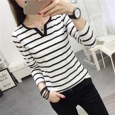 DE SHOP~(T-4295)黑白條紋v領修身顯瘦長袖T恤